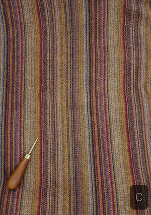 RED PURPLE GOLD PINSTRIPE #276C - Washed and Felted 1/2 yard - Ready to use Wool Fabric for Rug Hooking or Wool Applique