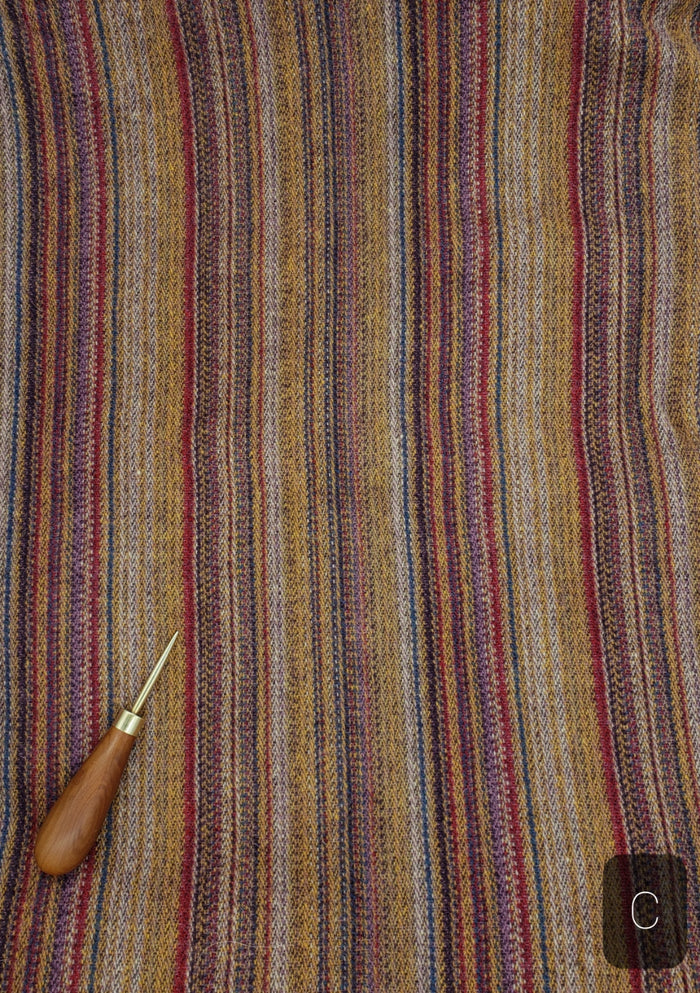 RED PURPLE GOLD PINSTRIPE #276C - FAT QUARTER - Ready to use Wool Fabric for Rug Hooking or Wool Applique
