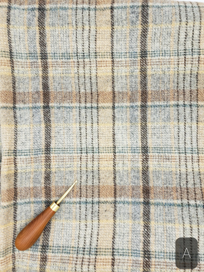 BLUE & BEIGE PLAID #274A - FAT QUARTER - Ready to use Wool Fabric for Rug Hooking or Wool Applique