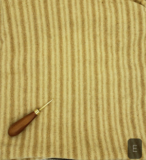 GOLD BEIGE CREAM PINSTRIPE #278E - Washed and Felted 1/2 yard - Ready to use Wool Fabric for Rug Hooking or Wool Applique