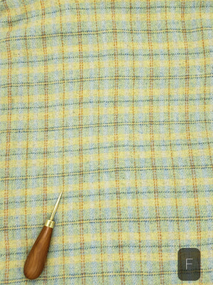 BLUE YELLOW GOLD PLAID #279F - Washed and Felted 1/2 yard - Ready to use Wool Fabric for Rug Hooking or Wool Applique