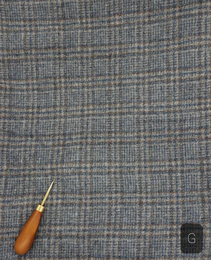 STEEL BLUE GREY PLAID #280G - Washed and Felted 1/2 yard - Ready to use Wool Fabric for Rug Hooking or Wool Applique
