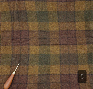 BROWN CARAMEL GREEN PLAID #288-5 - FAT QUARTER - Ready to use Wool Fabric for Rug Hooking or Wool Applique