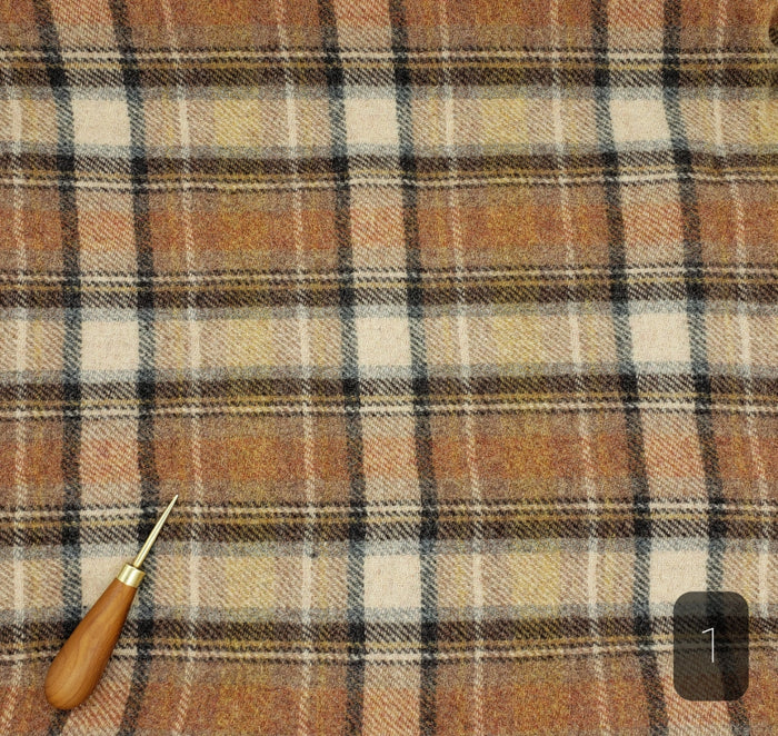 BROWN CREAM PLAID #284-1 - FAT QUARTER - Ready to use Wool Fabric for Rug Hooking or Wool Applique