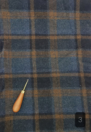BLUE BROWN  BLACK PLAID #286-3 - FAT QUARTER - Ready to use Wool Fabric for Rug Hooking or Wool Applique