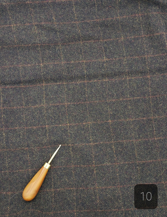 CHARCOAL BROWN PLAID #293-10 - FAT QUARTER - Ready to use Wool Fabric for Rug Hooking or Wool Applique