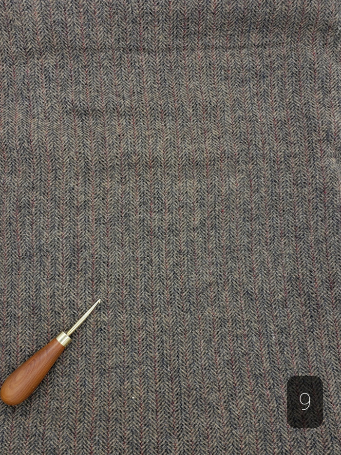 GREY BEIGE HERRINGBONE #292-9 - FAT QUARTER - Ready to use Wool Fabric for Rug Hooking or Wool Applique