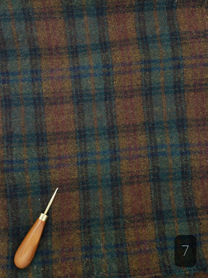 GREEN CHOCOLATE BROWN PLAID #290-7 - FAT QUARTER - Ready to use Wool Fabric for Rug Hooking or Wool Applique