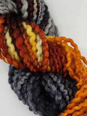 Textured Wool Strands - COASTLINE - Hand Dyed Yarn OOAK - Orange and Grey Variegated