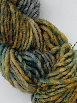 Textured Wool Strands - NORTH POLE - Hand Dyed Yarn OOAK - Shades of Blue/Yellow/Green