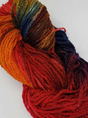 Textured Wool Strands - SETTING SUN - Hand Dyed 100% Silk Yarn OOAK - Shades of Orange/Red/Blue