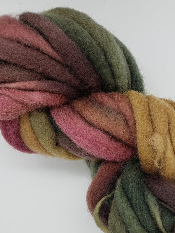 Textured Wool Strands - SUNRISE - Hand Dyed 100% Wool Thick and Thin Yarn OOAK - Shades of Pink/Steel Blue/Yellow