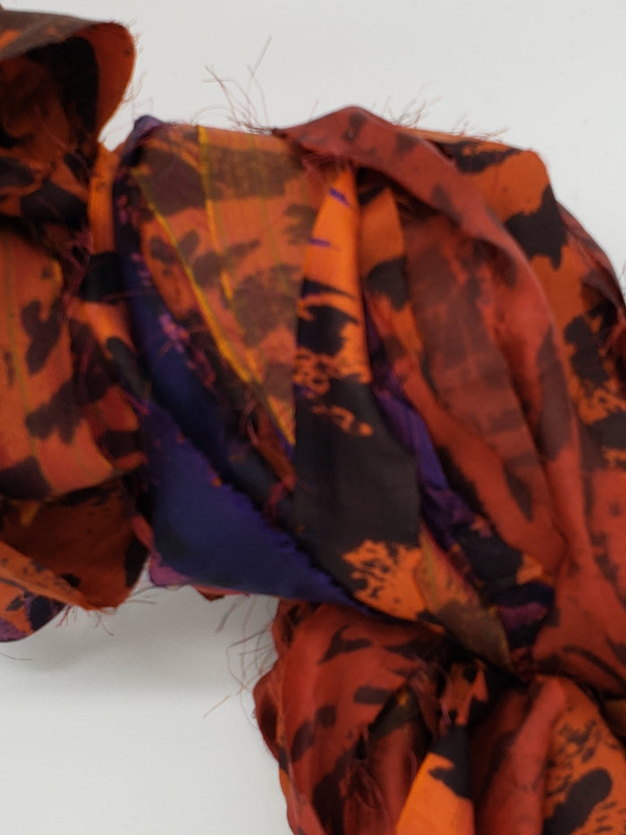 Sari Silk - ORANGE LEOPARD - Shades of Orange & Black