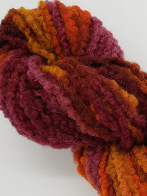 Textured Wool Strands - SUNSET - Hand Dyed 100% Wool Yarn OOAK - Shades of Orange/Red/Pink