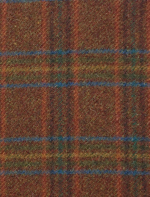 BROWN BLUE GOLD PLAID #285-2 -  FAT QUARTER - Ready to use Wool Fabric for Rug Hooking or Wool Applique