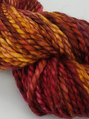 FROSTED LEAVES - BIG TWISTY 2 PLY -  Hand Dyed Shades of Burgundy, Gold, Cream and Red Violet Chunky Yarn for Rug Hooking - RSS252