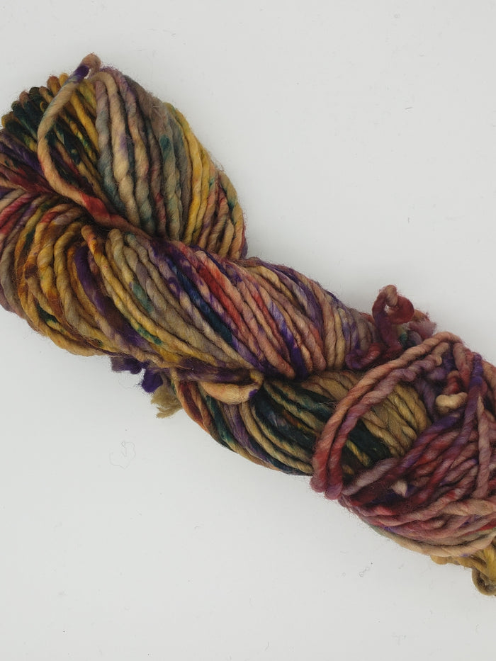 Chunky - FIELD OF COLOUR - Hand Dyed Yarn - OOAK Variegated Shades of purple/red/gold/green