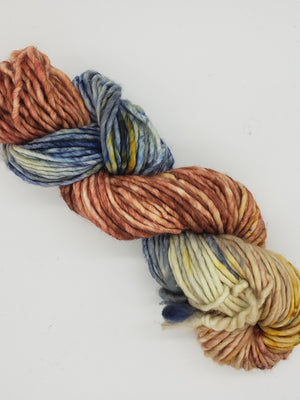 Chunky - SHORELINE - Hand Dyed Yarn - OOAK Variegated Shades of Gold/Blue/Cream/Red