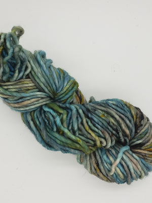 Chunky - AFTER THE RAIN - Hand Dyed Yarn - OOAK Variegated Shades of Blue/Grey/Gold
