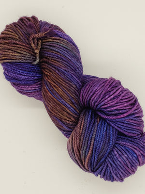 Aran - IRIS BEAUTY - Hand Dyed Yarn - OOAK Variegated Shades of Purple/Gold