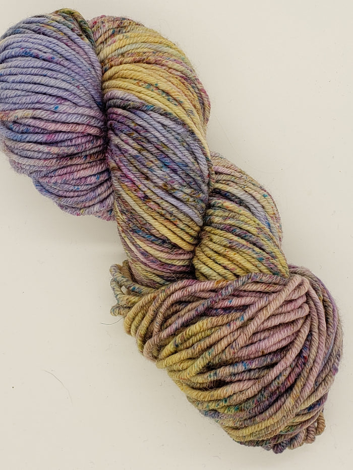 Chunky - APRIL FIELDS - Hand Dyed Yarn - OOAK Variegated Shades of Purple/Yellow/Blue