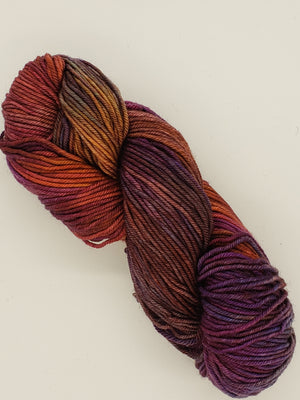 Aran - SUNSET SKIES - Hand Dyed Yarn - OOAK Variegated Shades of Red Orange/Purple
