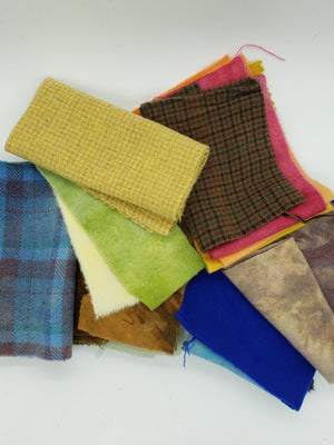 WOOL CLOTH MYSTERY GRAB BAG - Wool Bundle of Assorted Fabric - 11 ounces - 100% Wool for Rug Hooking & Wool Applique OOAK