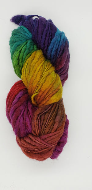 Slubby - HIBISCUS - Merino/Blue Face Leicester - Hand Dyed Textured Yarn Thick and Thin  - Shades of