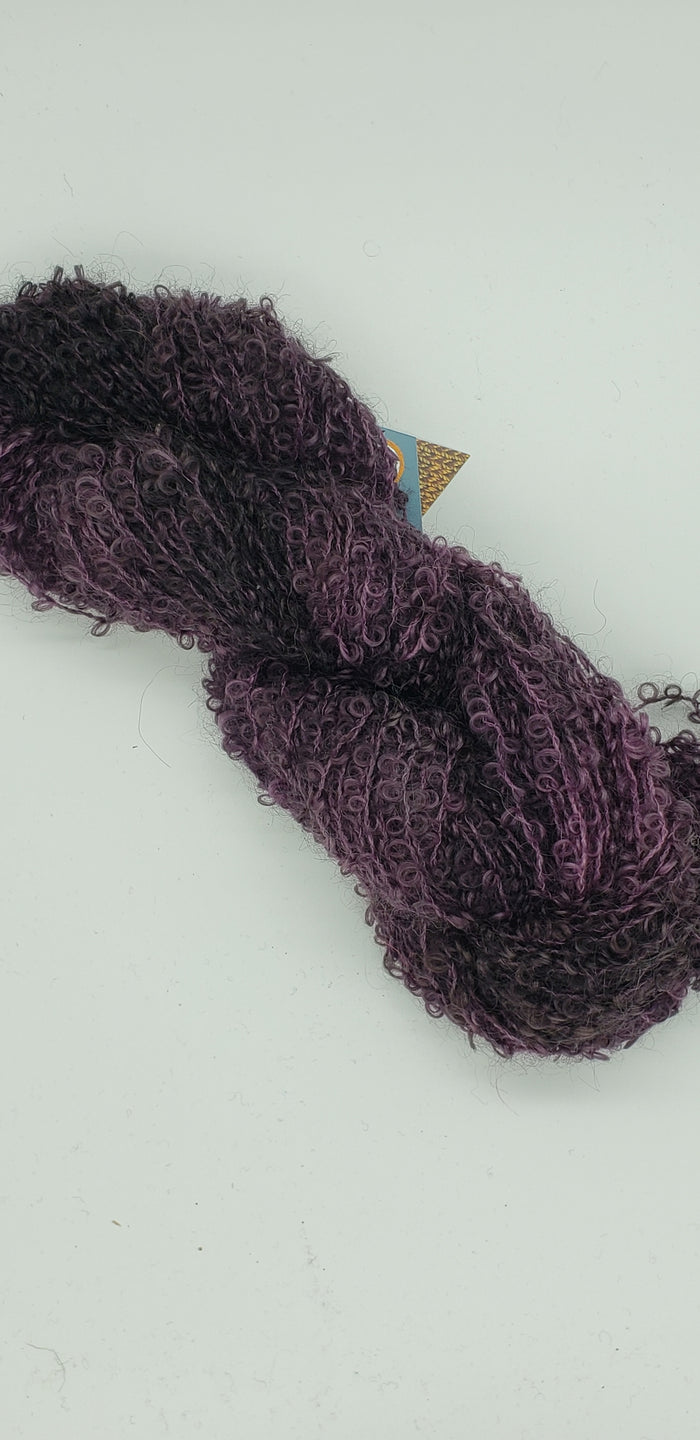 Wool Curly Locks - PLUM - Hand Dyed Textured Yarn - Landscape Shades