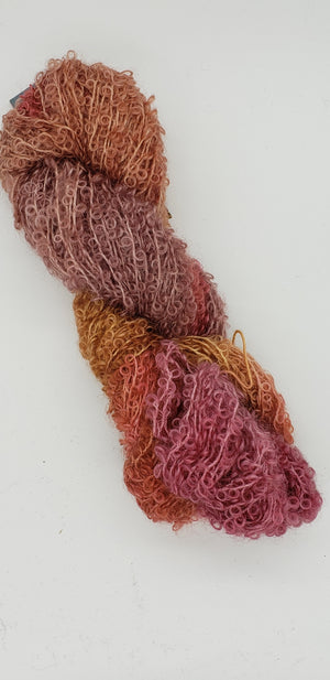 Wool Curly Locks - ROSE GOLD - Hand Dyed Textured Yarn - Landscape Shades