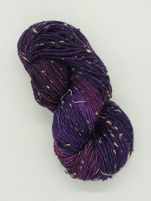 Bramble Tweedy - AMETHYST -  OOAK Worsted Hand Dyed Yarn