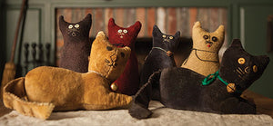 Folky Felines Wool and Velvet Pattern - Pincushion