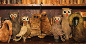 Owls and Gourds Wool and Velvet Pattern - Pincushion