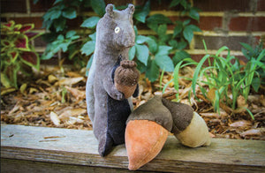 Squirrels and Nuts Wool and Velvet Pattern - Pincushion