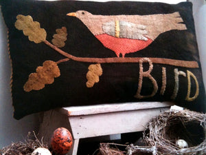 Wool Bird Pillow - Wool Applique Kit -Bonanomi