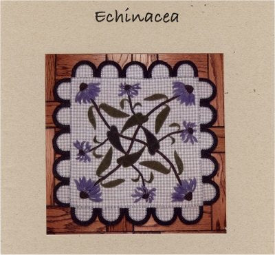 Echinacea Wool Applique Pattern - Wall Hanging or Table Runner