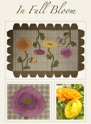 In Full Bloom Wool Applique Pattern - Wall Hanging or Table Runner