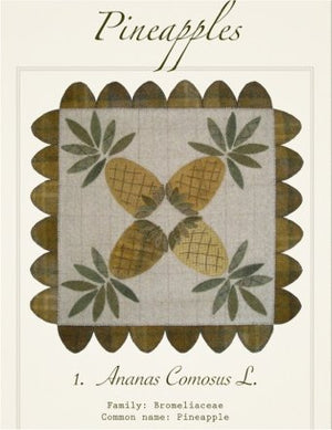 Pineapples Wool Applique Pattern - Wall Hanging or Table Runner