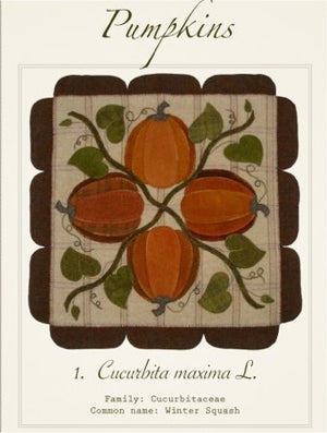 Pumpkin Wall Hanging - Wool Applique Kit with Pattern - Cardiff Farms