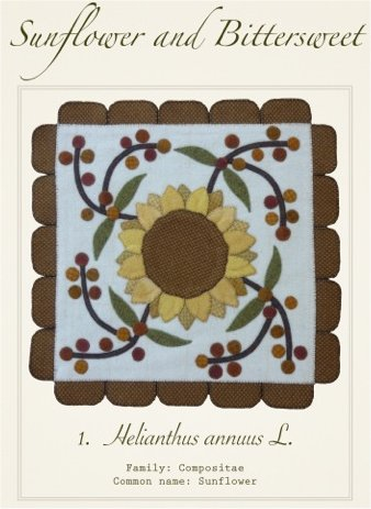Sunflower and Bittersweet Wool Applique Pattern - Wall Hanging or Table Runner