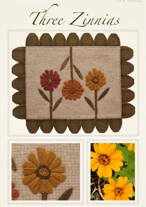 Three Zinnias Wool Applique Pattern - Wall Hanging or Table Runner