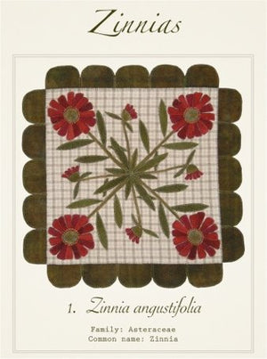 Zinnias Wool Applique Pattern - Wall Hanging or Table Runner