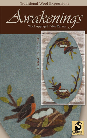Awakenings Spring Robin Wool Applique Pattern - Table Runner