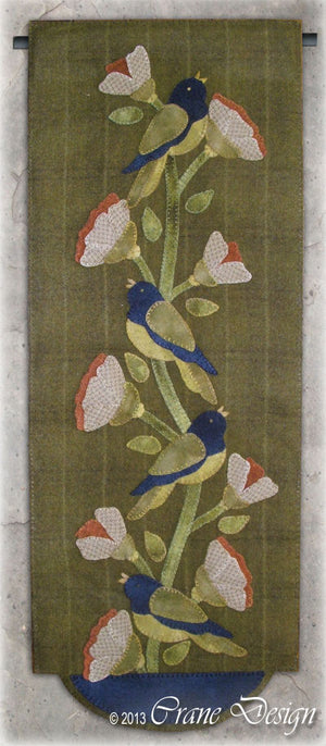 Birds in Bloom Wool Applique Pattern - Wall Hanging