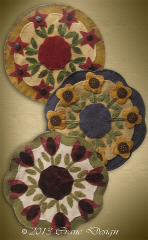 Friends in the Garden Wool Applique Pattern - Candle Mat