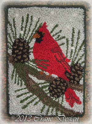 Cardinal in the Pines - Punch Needle Pattern