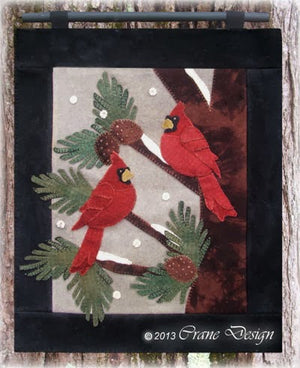 Cardinals Chattering Wool Applique Pattern - Wall Hanging