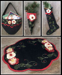 Christmas Rose 4 in 1 Wool Applique Pattern