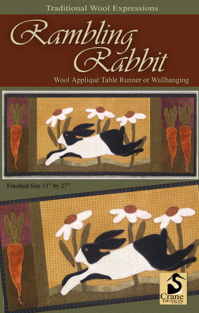 Rambling Rabbit Wool Applique Pattern - Table Runner