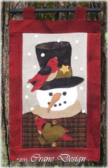 Sammie Snow - Snowman Guy Wool Applique Pattern - Wall Hanging